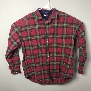 Tommy Hilfiger Mens Red Plaid Button XL